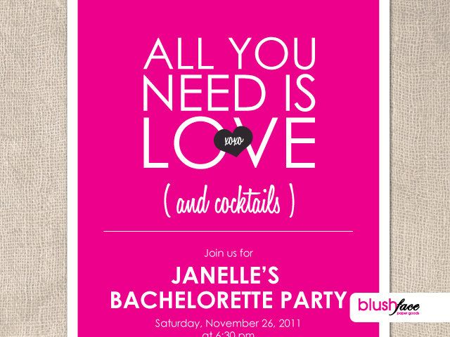 All You Need Is Love Wedding Invitations: All You Need Is LOVE And Cocktails