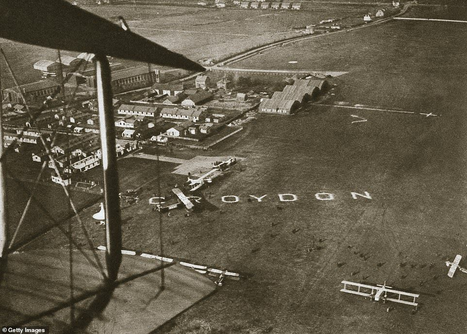 Archive pictures of the first air traffic control tower in