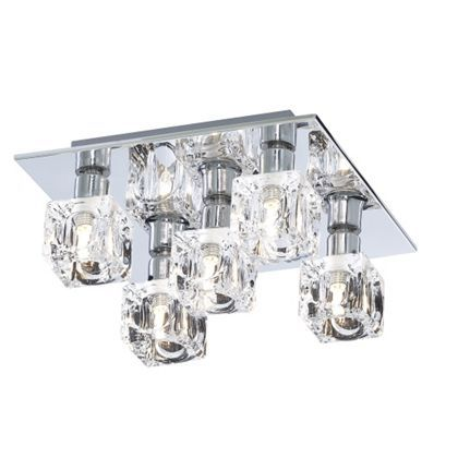Glass ice cube 5 light flush ceiling light silver lighting glass ice cube 5 light flush ceiling light silver homebase aloadofball Image collections
