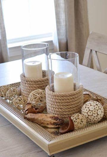 Ideas sencillas de adornos para centro de mesa de sala | Pinterest