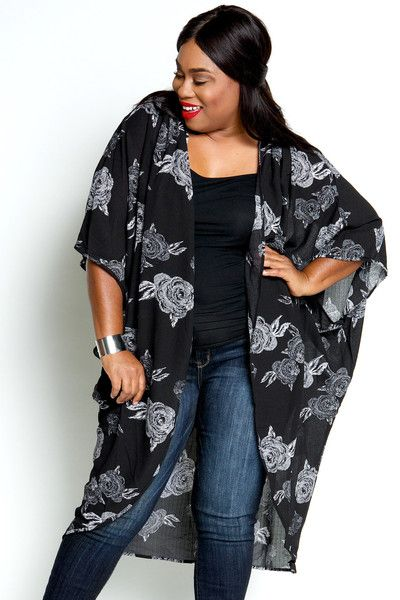 35cab05f6853 Plus Size Clothing for Women - Floral Lightweight Kimono by Sabrina  Servance (One Size Fits 18 - 24) - Society+ - Society Plus - Buy Online Now!