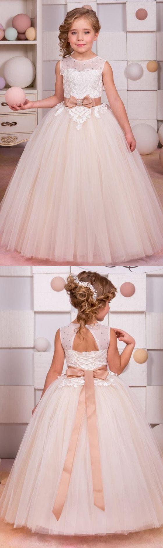 Alineprincess flower girl dresses long white dresses with open