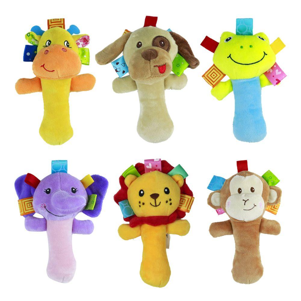 2 pcs Baby Rattle Toy Hand Wrist Soft Plush Rattle Toys Colourful Animal