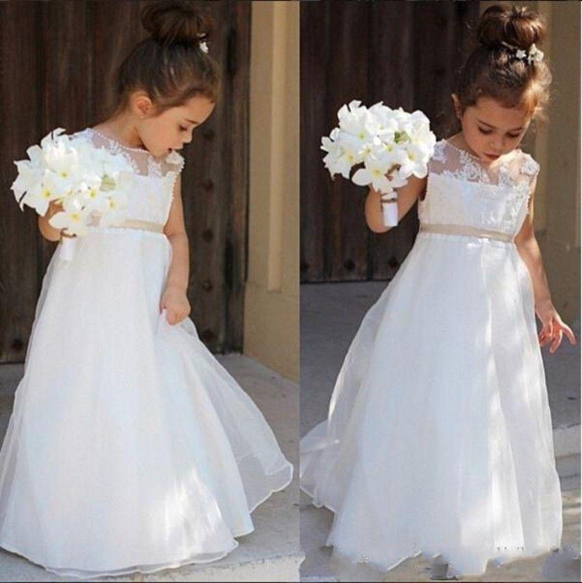Pas cher blanc fleur fille robes pour mariages appliques for Robe de fille de fleur pour le mariage de plage