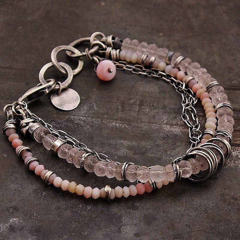 pink opal bracelet •  925 sterling silver • rose quartz  bracelet • chain bracelet •  oxidized silver • gift for her by ewalompe on Etsy https://www.etsy.com/listing/462376313/pink-opal-bracelet-925-sterling-silver
