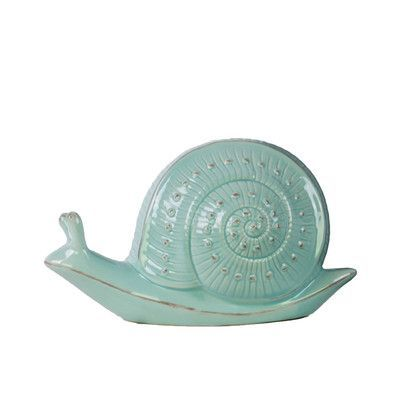 """Urban Trends Snail Figurine Size: 4.75"""" H x 9.5"""" W x 4.25"""" D, Color: Blue"""