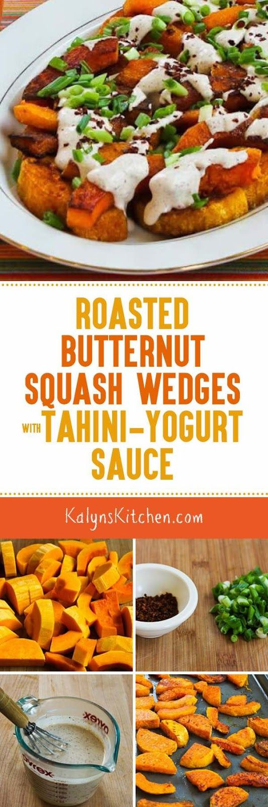 Roasted Butternut Squash Wedges with Tahini-Yogurt Sauce, Sumac, and Aleppo Pepper are amazing for a Meatless Monday dish, or serve this as a delicious side dish.  [found on KalynsKitchen.com] #ButternutSquash #SideDish #MeatlessMonday #RoastedButternutSquash
