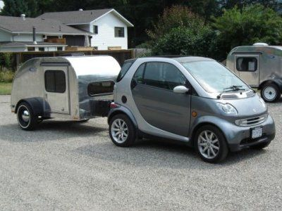 Pint Sized Tear Drop Trailer Pulled By A Smart Car Smart Car Smart Car Body Kits Car