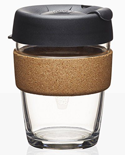 KeepCup 12oz Reusable Coffee Cup. Toughened Glass Cup & Natural Cork Band. 12 OunceMedium, Espresso