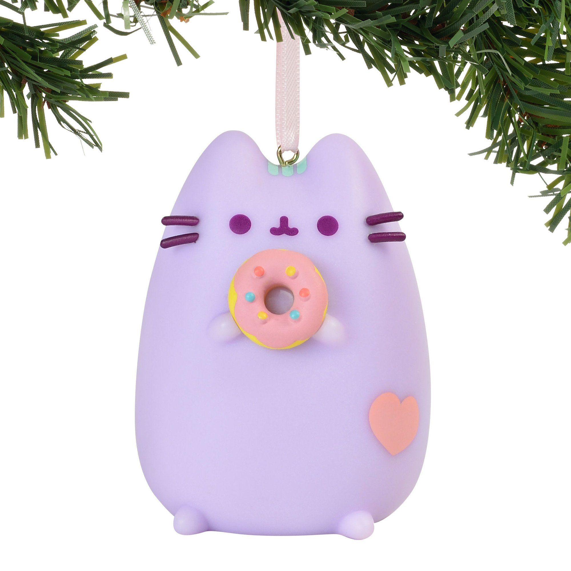 Department 56 Pusheen Purple With Donut Ornament, 25 Inch