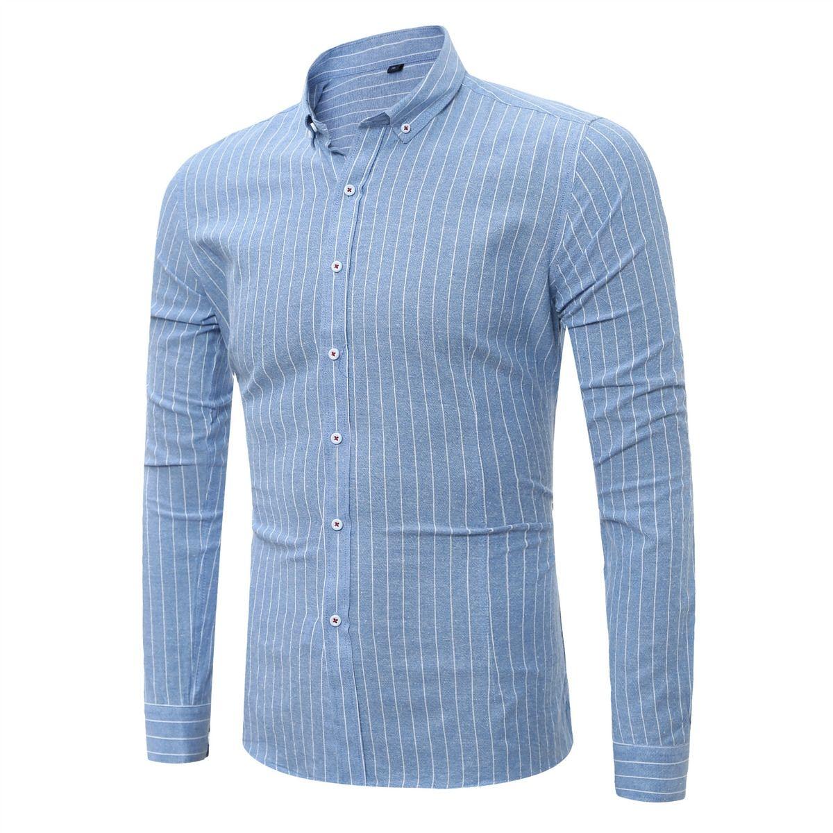 Stripe Shirt Men Long Sleeve New Brand Clothing Top Quality Slim Fit