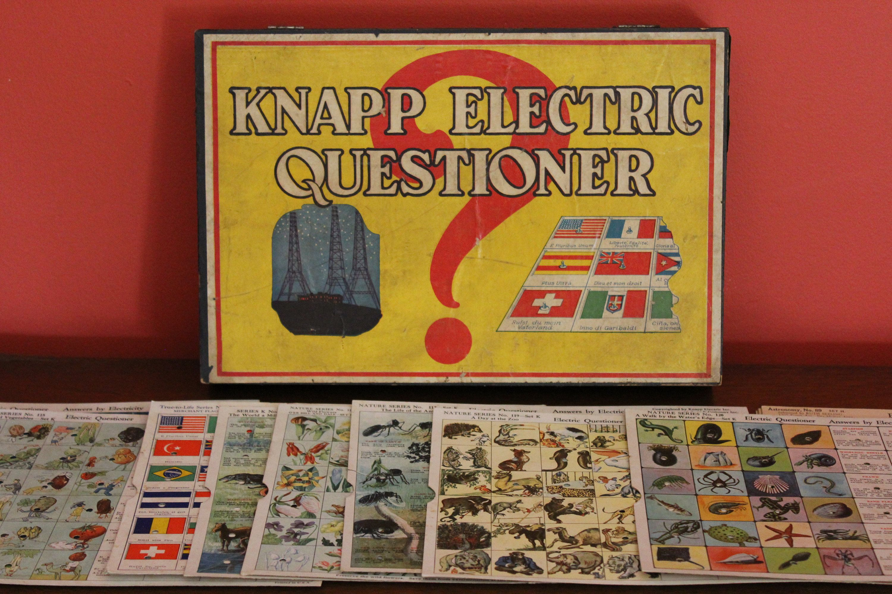 Vintage Question Game Graphic Cards Knapp Electric Questioner Teaching Game Colorful Cards And Box Craft Project Graphic Card Teaching Game Question Game