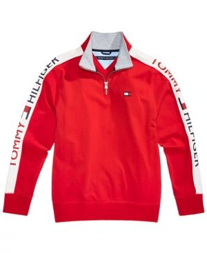 eb0357d61188 Tommy Hilfiger Toddler Boys Colorblocked Quarter-Zip Cotton Pullover - Red  2T