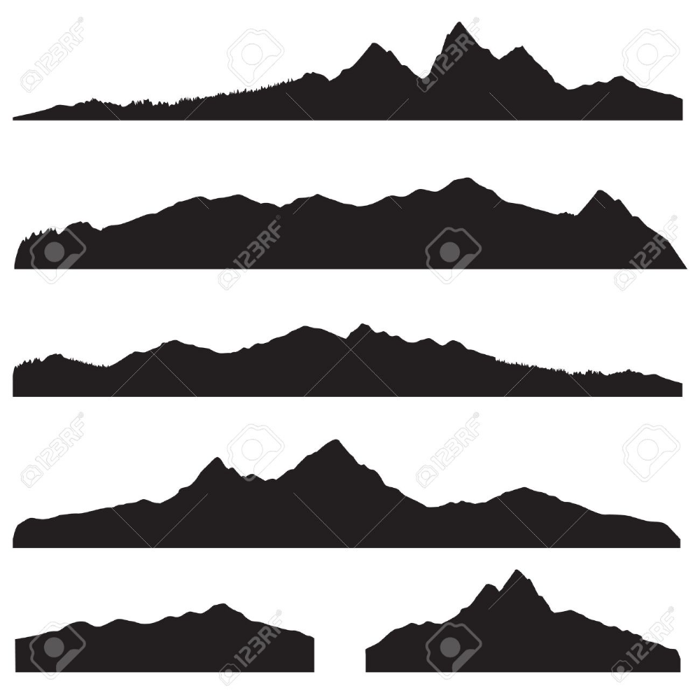 Mountains Landscape Silhouette Set Abstract High Mountain Border Landscape Silhouette Mountain Silhouette Mountain Landscape
