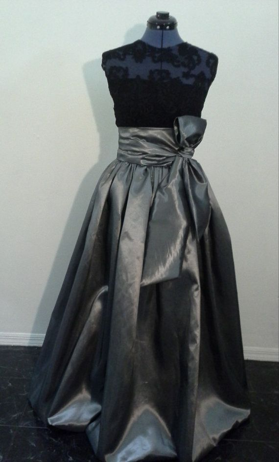 Floor Length Gray Taffeta Ball Gown Skirt with by WellFit on Etsy ...