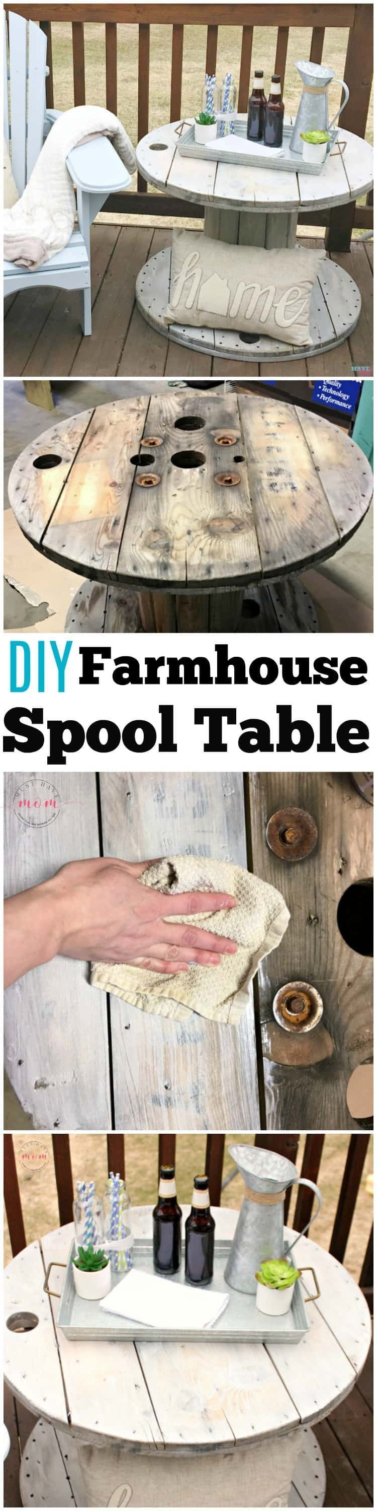 DIY Farmhouse Style Wood Spool Side Table #cablespooltables DIY farmhouse style wood spool table ideas. Tutorial to make a side table from a wood cable spool #cablespooltables DIY Farmhouse Style Wood Spool Side Table #cablespooltables DIY farmhouse style wood spool table ideas. Tutorial to make a side table from a wood cable spool #cablespooltables