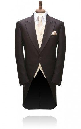 1 Button Brown Herringbone Morning Tailcoat by Torre £214.99 #morningsuit #wedding #tuxedo