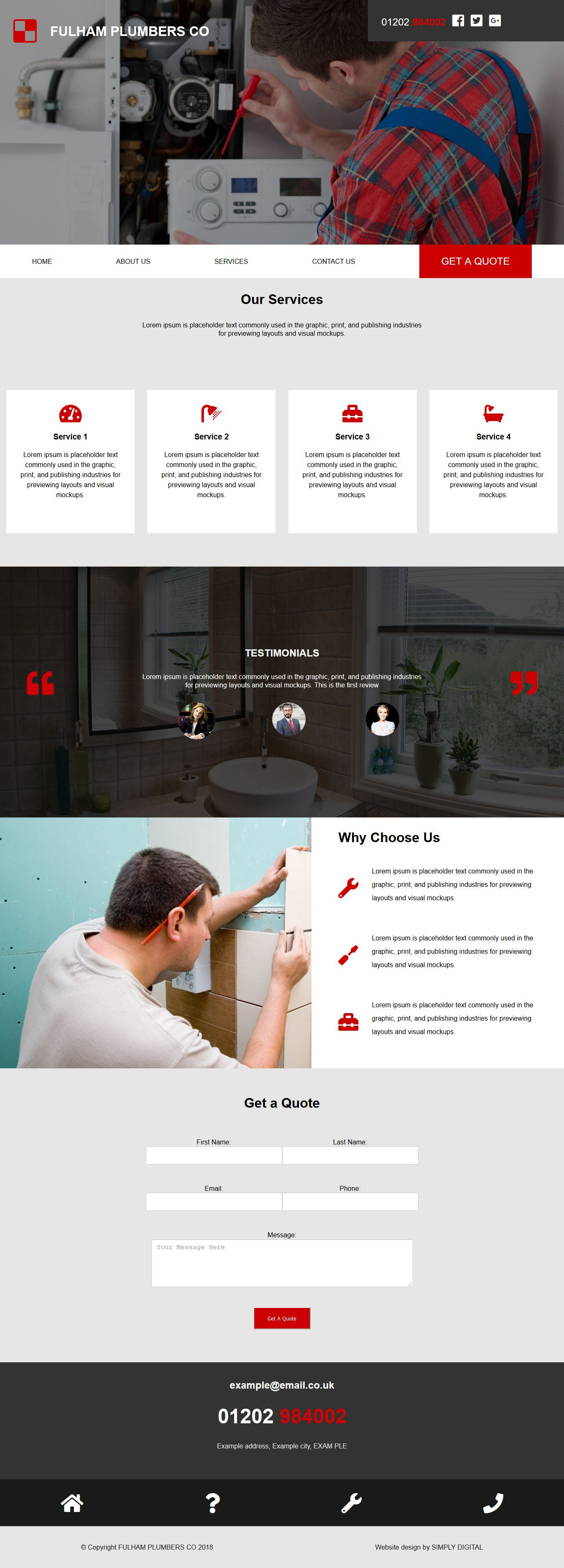 Sleek And Modern Our First Design For Fulham Plumbers Co Uses Their Company Colours Of Red And Dark Grey And Uses Lati One Design Design Promote Your Business