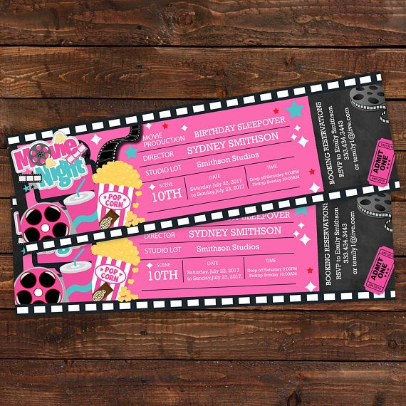 Girl Movie Ticket Invitation  Movie Party Birthday Invitation