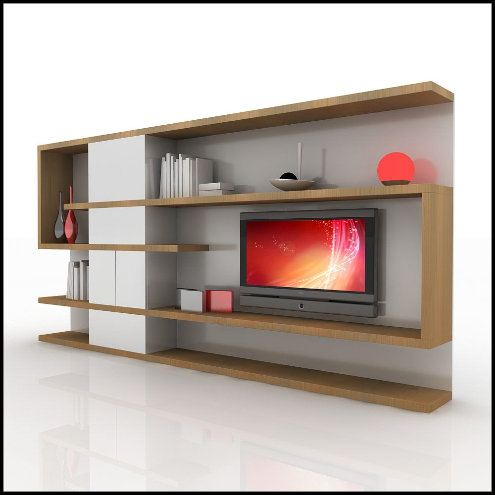 Contemporary wall units 3d model of a modern tv wall for Tv cabinet designs for hall