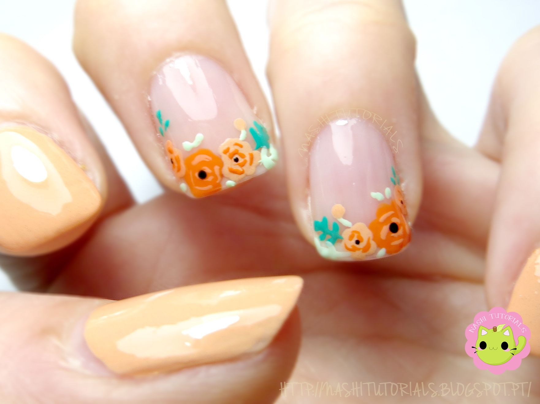 Peach and Orange Floral Diagonal French Tip Nail Art Check the ...
