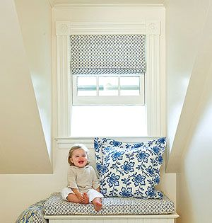 Amazing Baby Room Window Treatments...custom Pillows And Fabric Roman Shades. Good Looking