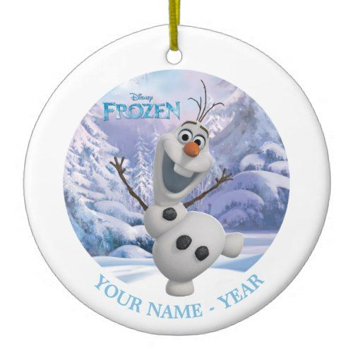 olaf snowflake background add your name ceramic ornament