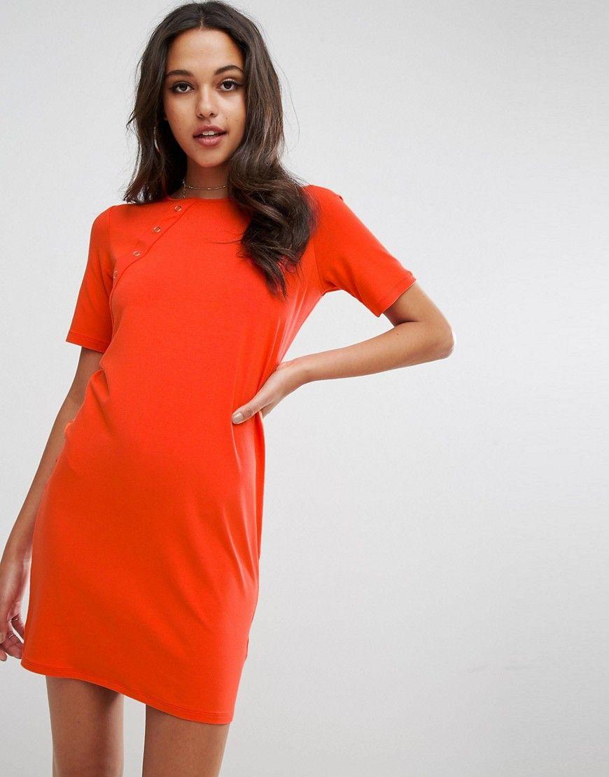 ASOS - Geknöpftes Mini-T-Shirt-Kleid - Orange Jetzt bestellen unter ...