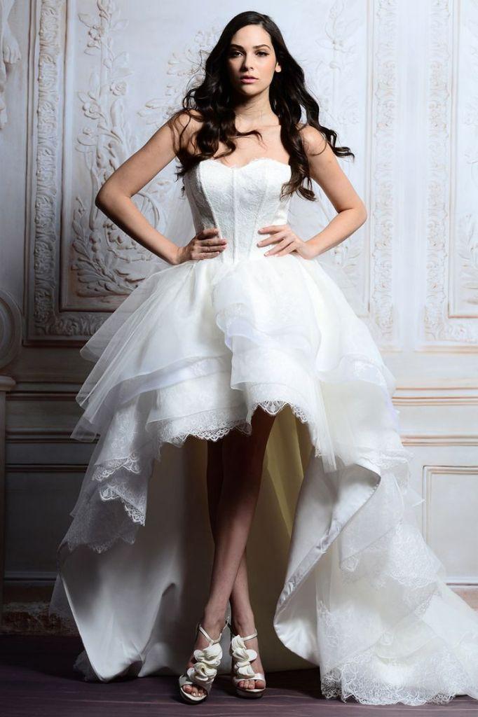 A Line White Organza Lace High Low Wedding Dress