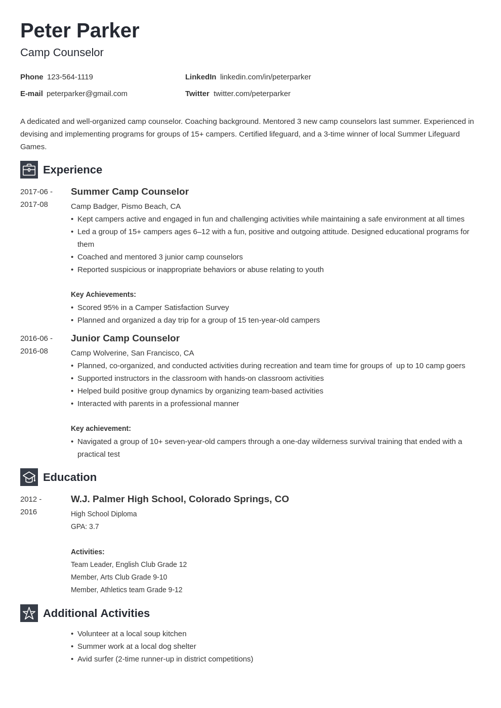 Camp Counselor Resume Example Template Newcast Resume Examples Job Resume Examples Resume