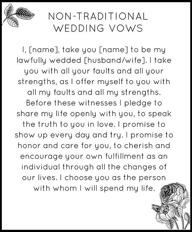 Non Church Wedding Ceremony Ideas: Modern Non-Traditional Wedding Vows