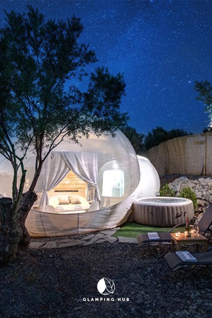 Luxury Camping Bubble With A Private Hot Tub Near Thessaloniki In Nea Moudania Greece Luxury Camping Tents Bubble Tent Tent Glamping
