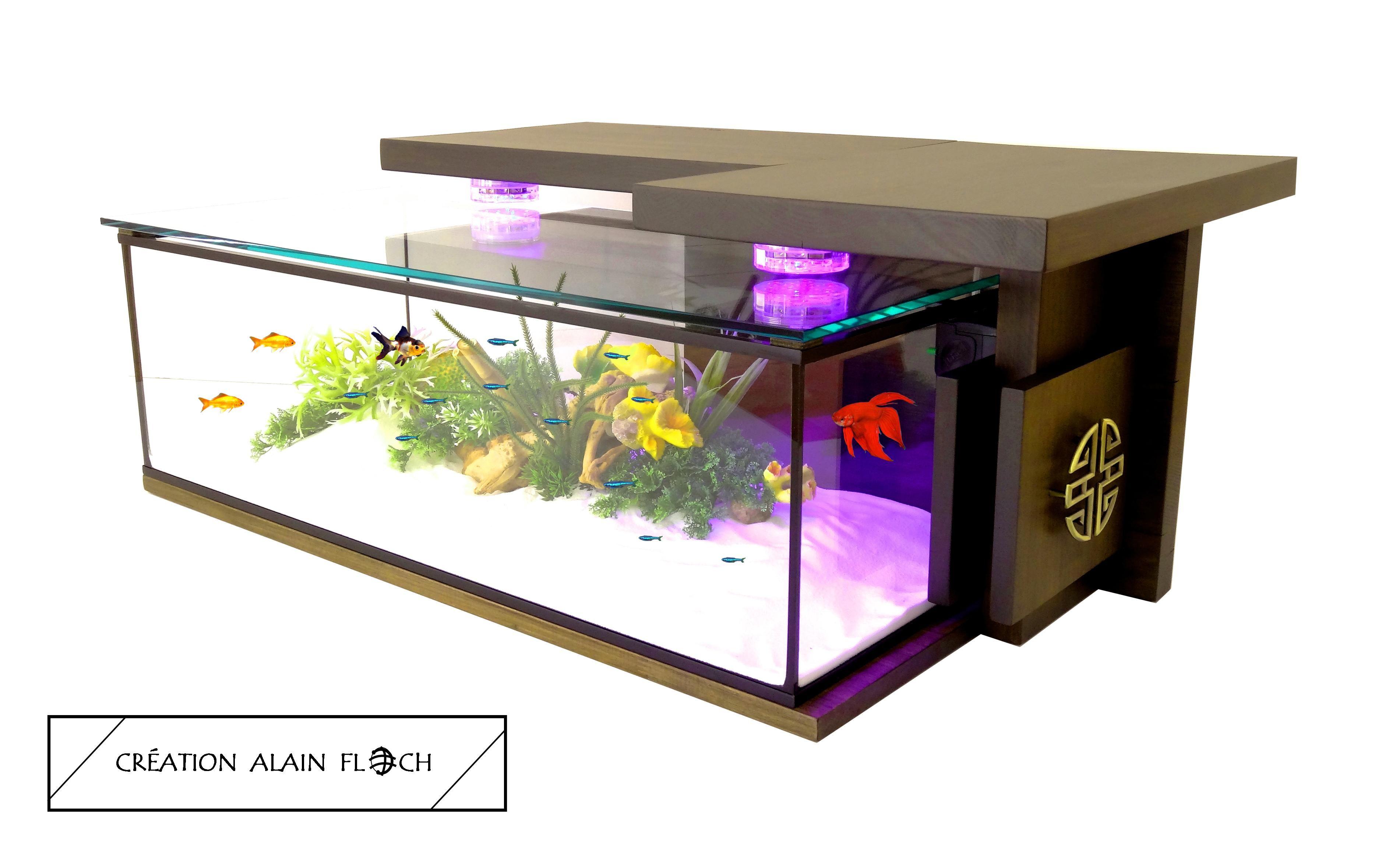 Table Basse Monastik Avec Aquarium Et Sculpture En Zinc Table Basse Aquarium Table Basse Contemporaine Table Basse