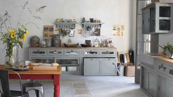 deco cuisine campagne chic | Kitchen rustic, Gray kitchens and Farm ...