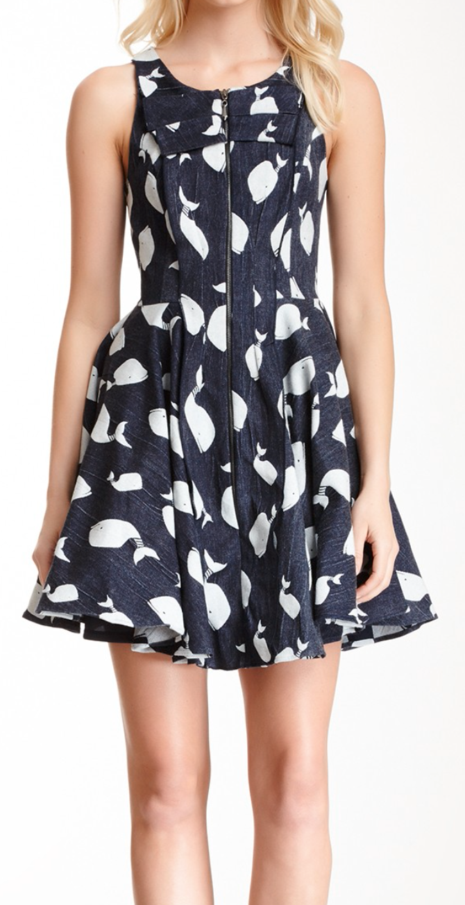 cb94f5d94eac1 Whale print dress.. This Dress with a air of colorful flats and some button  earrings !!