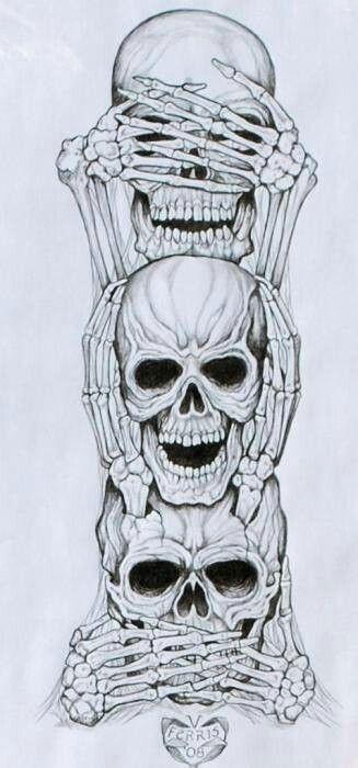 See No Evil Hear No Evil Speak No Evil See No Evil Hear No Evil Speak No Evil Skull Art Marquesan Tattoos Evil Art