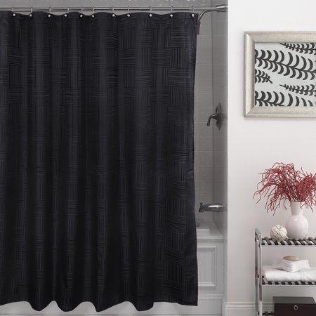 Mainstays Henderson Fabric Shower Curtain 100 Polyester 70 Inch X 72 Inch Black Fabric Shower Curtains