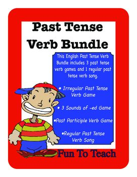 Regular and Irregular Past Tense Verb Games inluding Past Participle BundleGet ready for fun!  This engaging English Past Tense Verb bundle reinforces the past tense with 3 stimulating grammar games and an upbeat catchy tune.You get 110 pages of fun that will get students begging to practice English Past Tense verbs. $