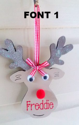 These wooden hand painted would brighten up any Christmas tree The children love to see there names on anything so this Rudolph will go down a treat