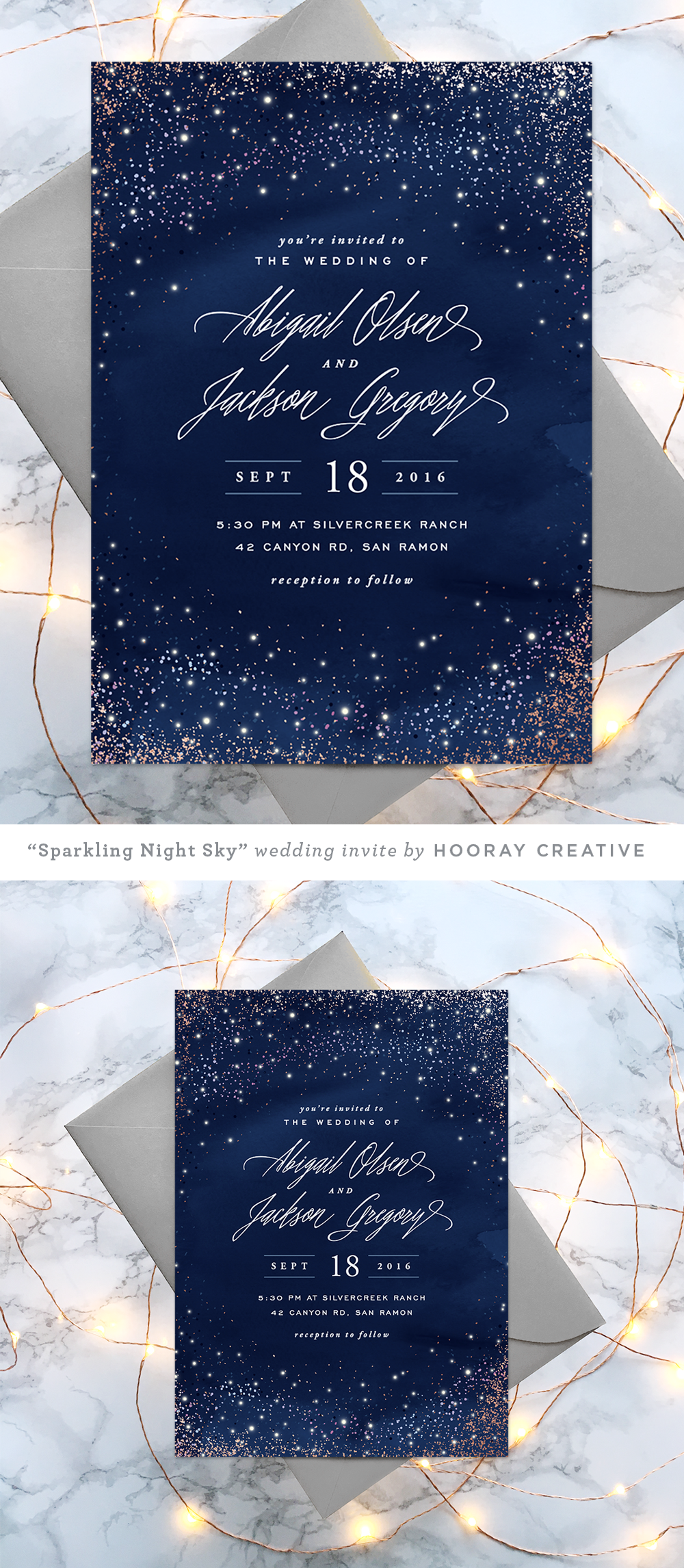 Sparkling Night Sky starry wedding invitation design and styling