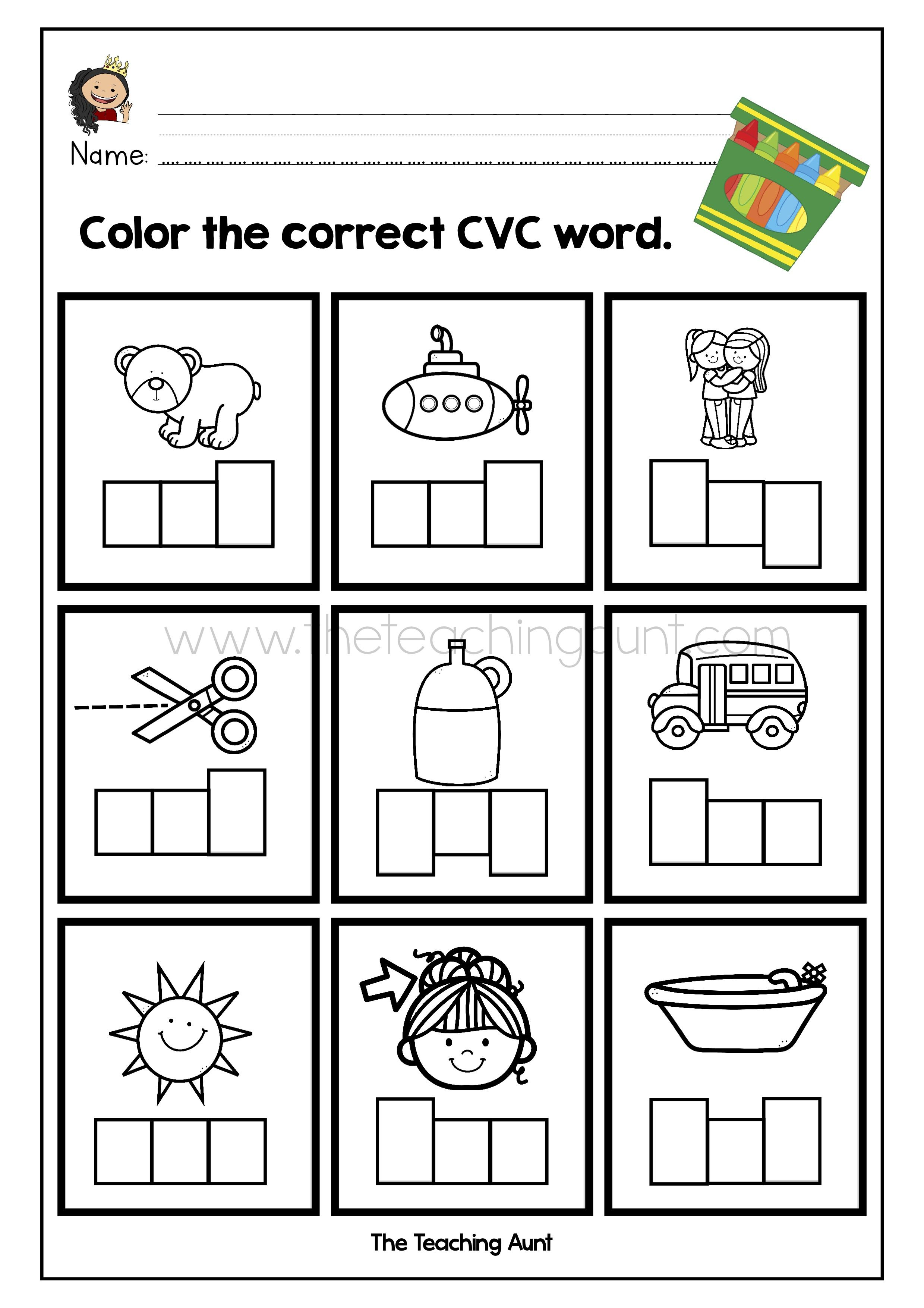 Cvc Words Worksheets For Kindergarten The Teaching Aunt Cvc Words Worksheets Cvc Words Kindergarten Worksheets