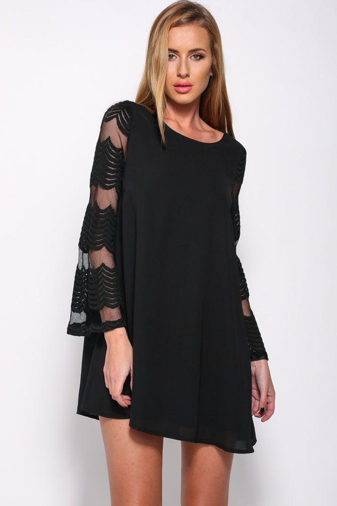 Flared Sleeves O Neck Double Layered Black Shift Dress | Mini ...