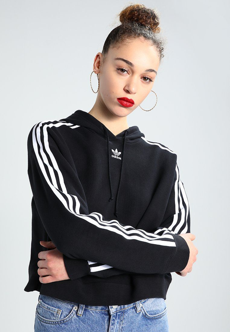 adidas Originals ADICOLOR CROPPED HOODIE - Hoodie - black ...