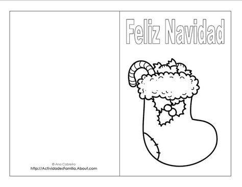 Descargra Gratis: Tarjetas de Navidad para colorear: Tarjeta de bota ...