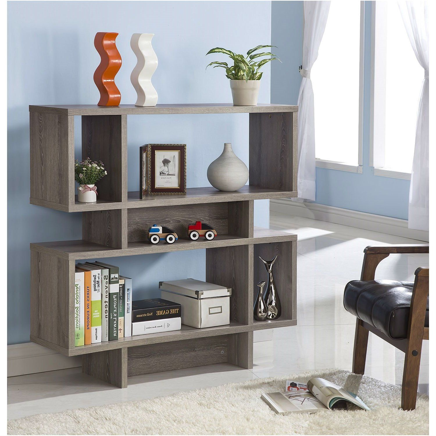 Modern Dark Taupe Wood Finish Bookcase Display Cabinet