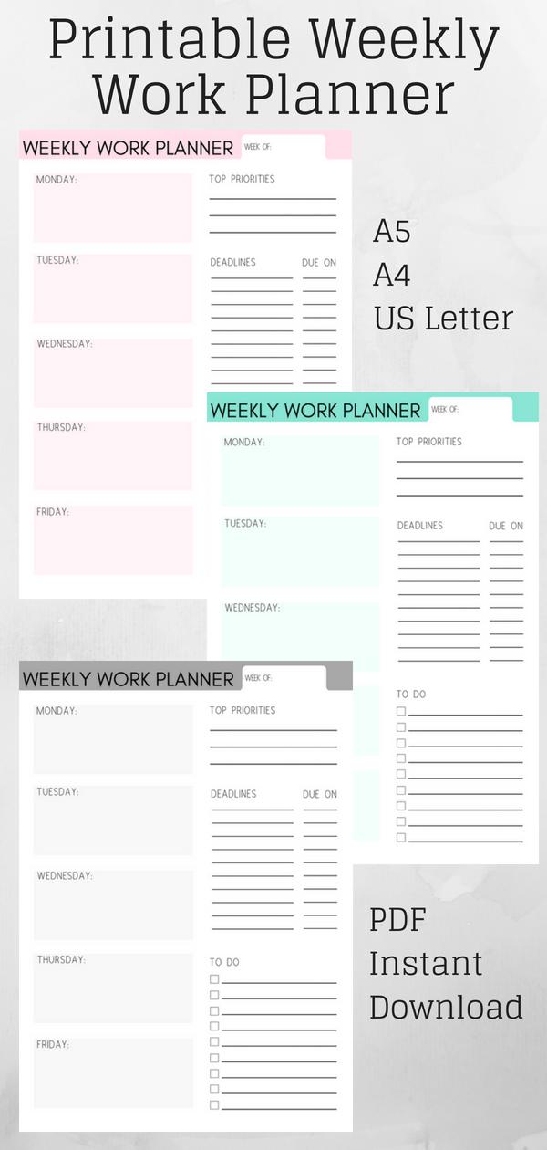Weekly Work Planner Weekly Planner Work Organizer Work Calendar Printable Planner Work Planner Weekly Work Planner Weekly Planner