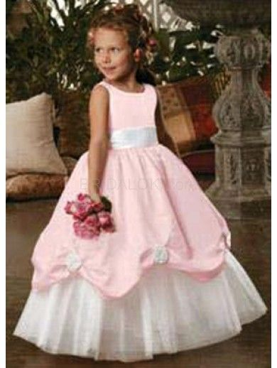 White And Pink Sleeveless Sash Satin Organza Flower Girl Dress