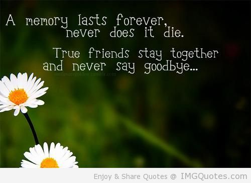 A Memory Lasts Forever Never Does It Die True Friends Stay Together And Never Say Goodbye Picture Quotes Never Say Goodbye True Friends Friends Quotes