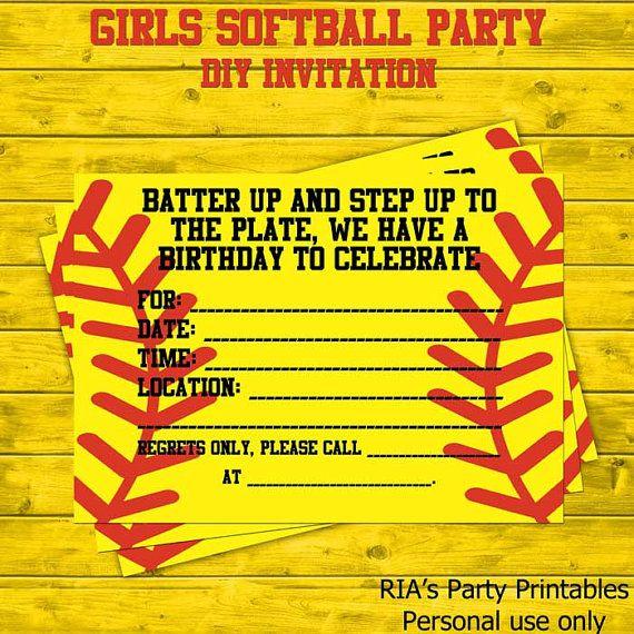 girls softball party diy invitations by riaspartyprintables 5 00