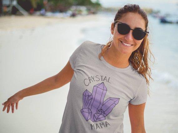 d872d0b6 Plus Size Boho Shirt- Crystal Mama Shirt- Boho Mom Shirt- Natural Crystal  Shirt- Boho Ladies Shirt-